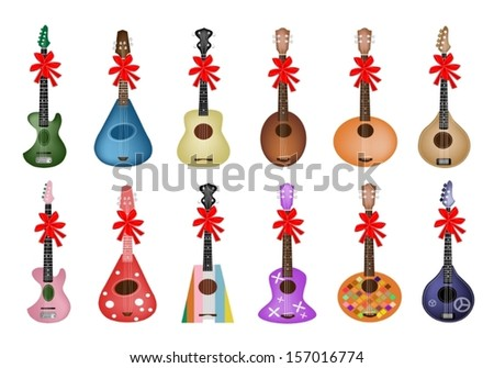 Collection of Ukulele Guitars in Various Colors and Different Style with Red Ribbon and Bow, The Perfect Gift or Present for Someone Special.  - stock vector