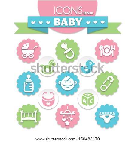collection of universal baby icons, eps10 vector illustration - stock vector