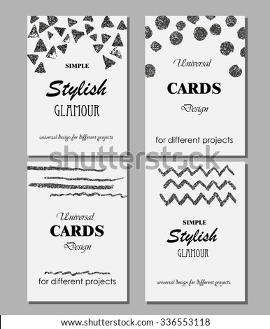 Collection of Universal Modern Stylish Cards Templates with Silver Geometrical Glitter Textures. Creative Wedding, Anniversary, Birthday, Valentines Day, Party Invitations, Business.