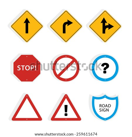 Collection of universal roadsigns. Vector graphic