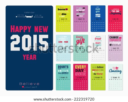 Collection of unusual motivational posters calendar about sport, healthy lifestyle and fitness for men and women. Vector template with fitness typography on color background. Good organizer. - stock vector