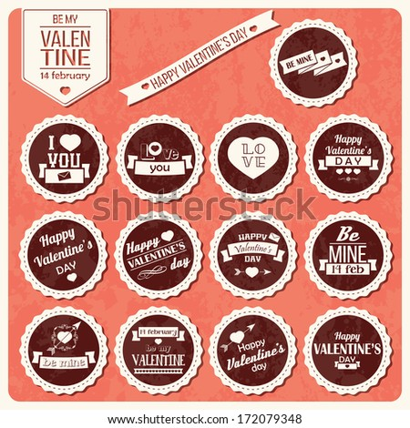 Collection of Valentine s day vintage labels, typographic design elements, ribbons, icons, stamps, badges, vector illustration