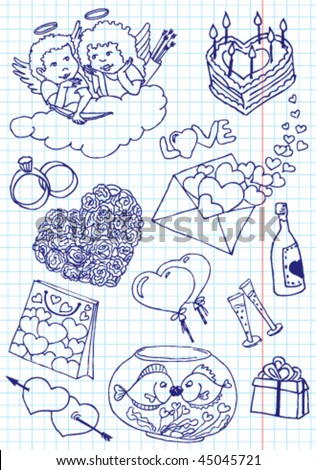 Collection of valentine's doodles - stock vector