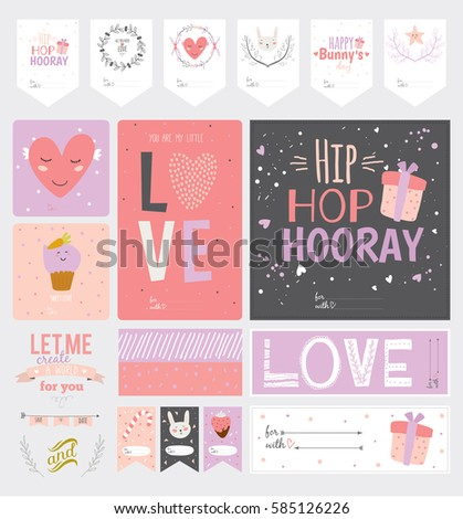 Collection valentines day easter gift tags stock vector 585126226 collection of valentines day and easter gift tags stickers and labels template and modern lovely negle Image collections