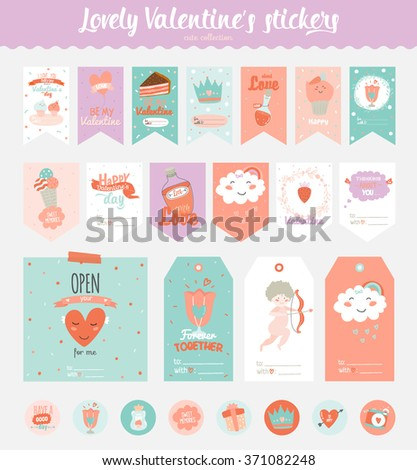 Collection of Valentines day gift tags, stickers and labels templates and modern lovely holidays elements with handwritten calligraphy. Hand drawn design elements - stock vector