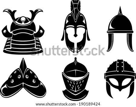 Collection of varied medieval soldier, warrior helmets or protective head gear. - stock vector