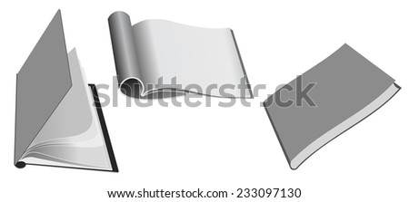 collection of various blank white paper on white background - stock vector