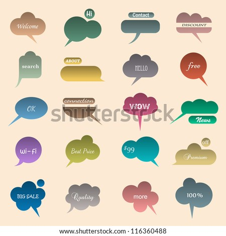 Collection of various bubbles for speech. Vector illustration - stock vector