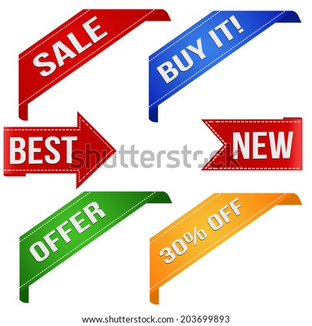 Collection of various business promo ribbons on white, vector illustration