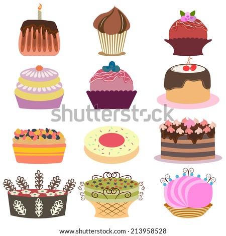Collection of various cakes. Vector illustration - stock vector