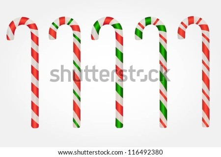 Collection of various candy canes - stock vector