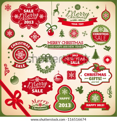 Collection of various christmas and new year decoration - stock vector
