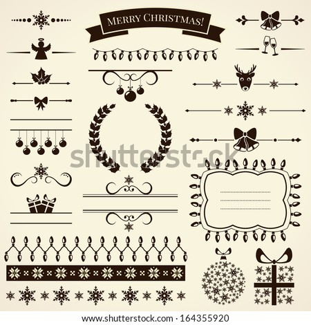 Collection of various Christmas elements for design and page decoration. Vector illustration. - stock vector