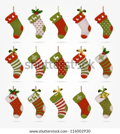 Collection of various Christmas stockings - stock vector