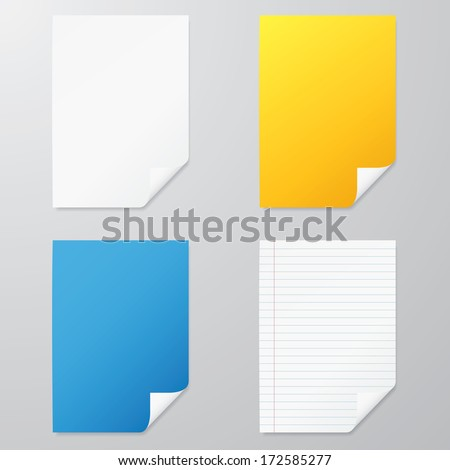 collection of various color A4 paper size curled corner. vector