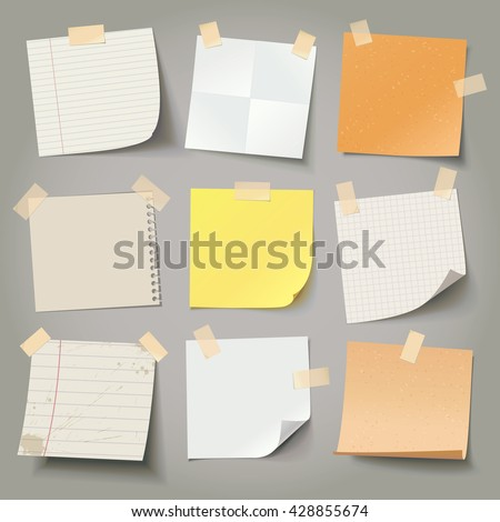 Collection of various crumpled note papers with curled corner and adhesive tape, ready for your message. Vector illustration. Isolated background. Front view. Top view. Close up. - stock vector