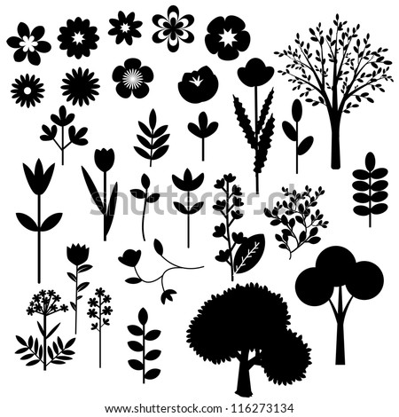 Collection of various decorative flowers and trees - stock vector