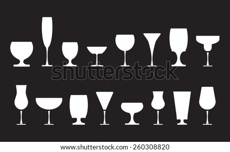 Collection of various drink glasses, icons set, white isolated on black background, vector illustration. - stock vector