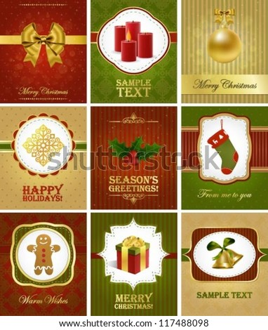 Collection of various editable elegant Christmas greeting cards - stock vector