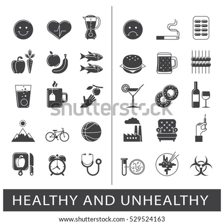 Diet, eating, fast food, junk food, lifestyle, poor ... |Unhealthy Lifestyle Icon