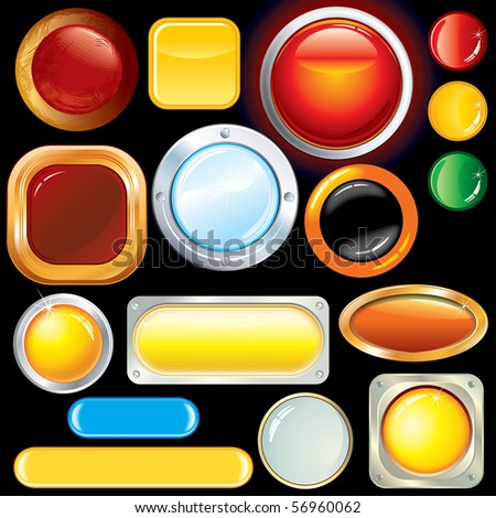 Collection of various glossy color buttons, icons and bars - stock vector