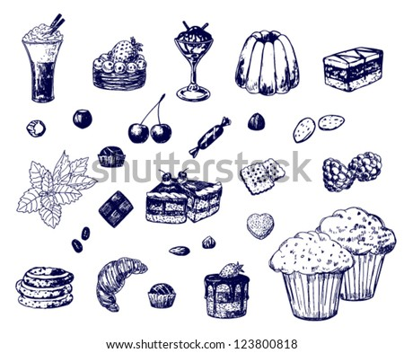 Collection of various hand-drawn desserts - stock vector