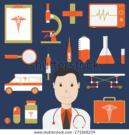 Collection of various Medical elements with cartoon of a smiling doctor on blue background.  - stock vector
