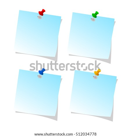 collection of various note paper with  push pin on white background