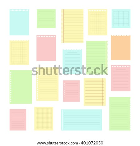 Collection of various note papers for your message. Set of different color note papers. Vector illustration - stock vector