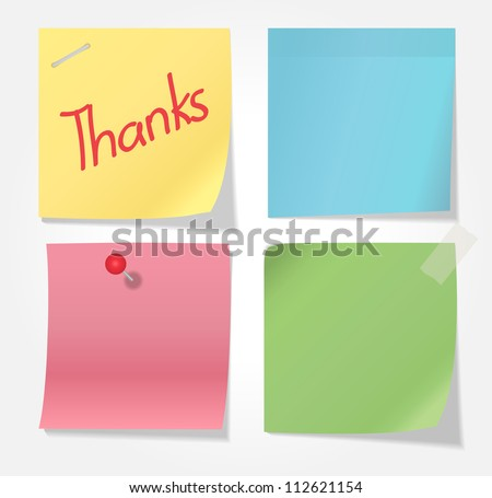 Collection of various note papers on white background - stock vector