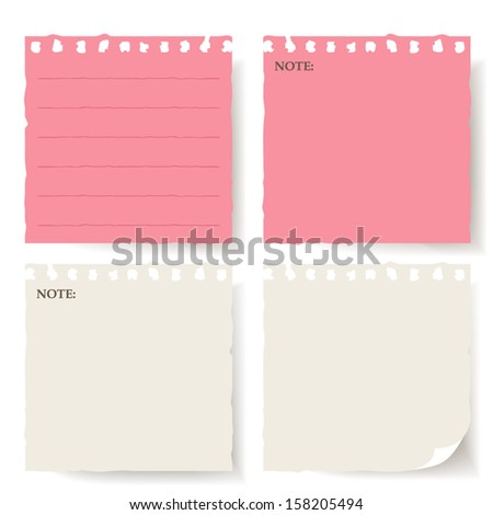 collection of various note papers on white background. each one is shot separately - stock vector
