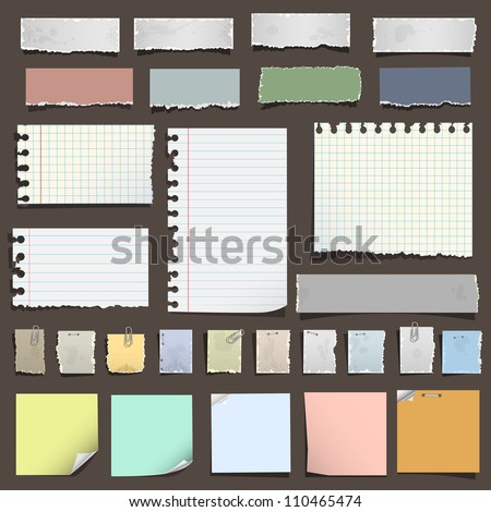 Collection of various notes paper. Vector eps10 - stock vector