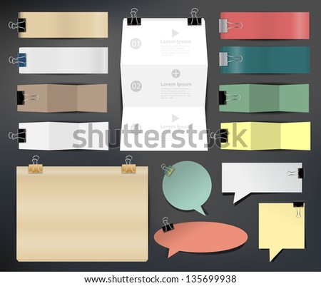 Collection of various papers, Vector illustration template design - stock vector
