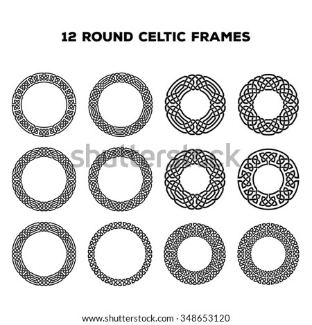 Collection of various round celtic frames, vector illustration - stock vector