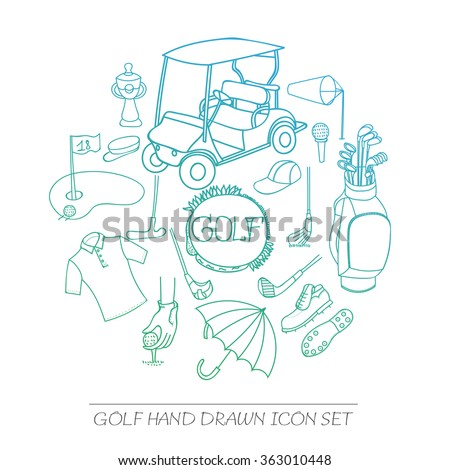 Collection of various stylized hand drawn Golf icons, Golf Equipment vector illustration, golf clubs, golf course background, doodle elements, golf cart, clubs, clothes and shoes sketch  - stock vector