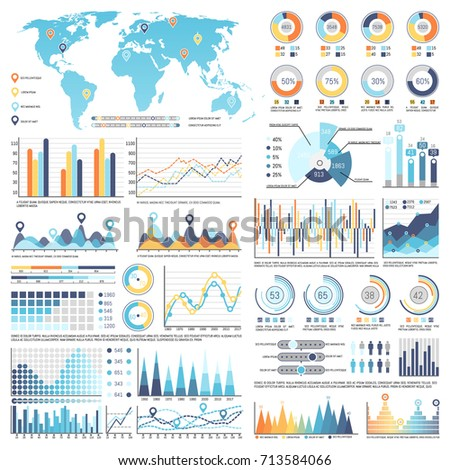 Collection Various Types Infographics Charts Along Stock Vector