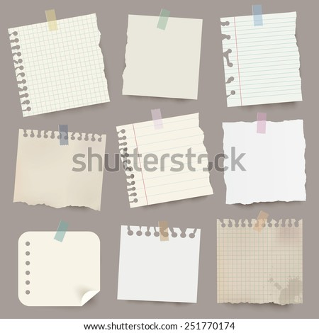 Collection of various vector note papers. - stock vector