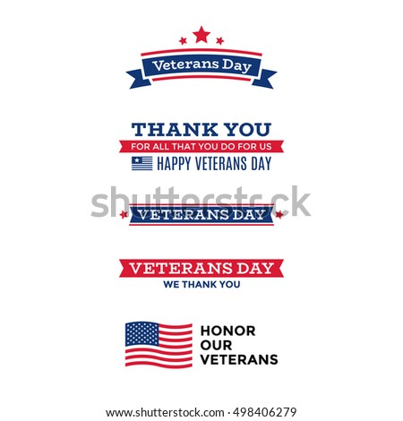 Collection Various Veterans Day Labels Emblems Stock Vector Hd