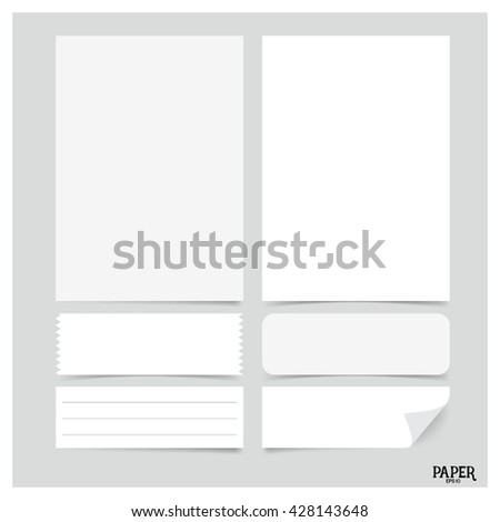 Collection of various white papers (paper sheets, lined paper, note paper), ready for your message. Vector illustration. - stock vector