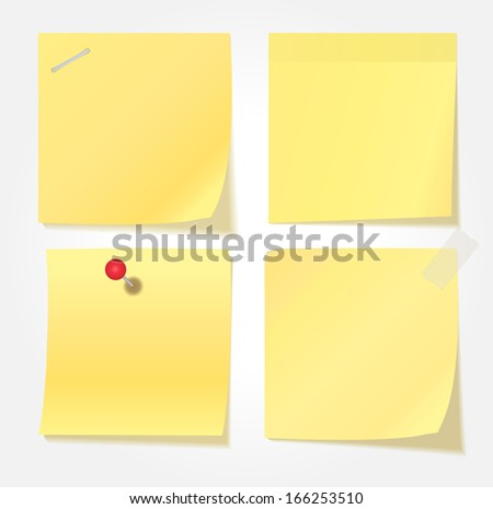 Collection of various yellow note papers. Vector Illustration - stock vector