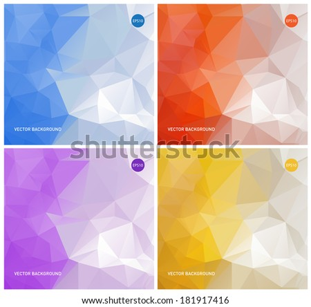 Collection of vector abstract polygonal backgrounds: blue, orange, purple and yellow