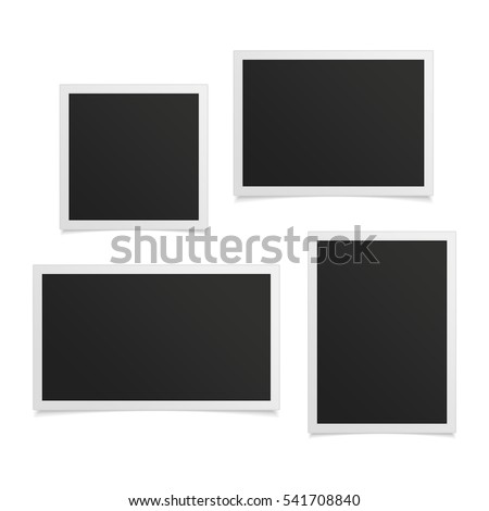collection of vector blank photo frames with shadow effects isolated on white background set different
