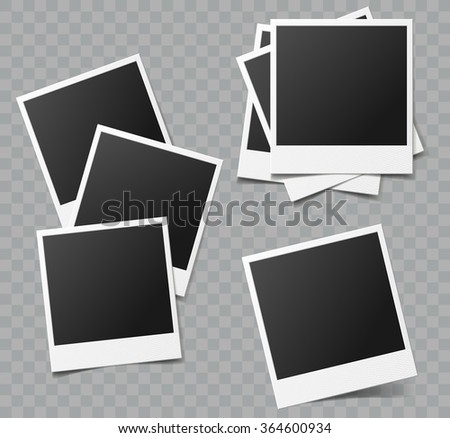Collection of vector blank photo frames with transparent shadow effects - stock vector