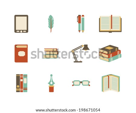 collection of vector books icons - stock vector