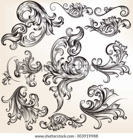 Collection of vector calligraphic flourishes and swirls - stock vector