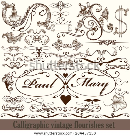 Collection of vector calligraphic flourishes in vintage style - stock vector
