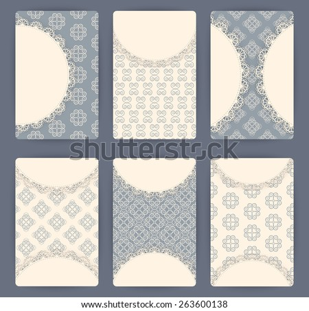 Collection of vector card templates with geometric ornament. For Save The Date, baby shower, birthday cards, invitations. - stock vector