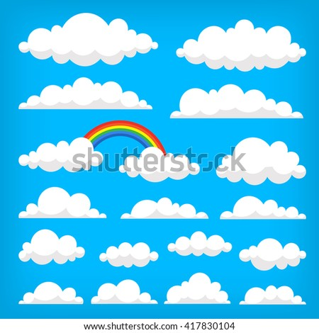 Collection of vector clouds on the blue sky. Isolated illustrations