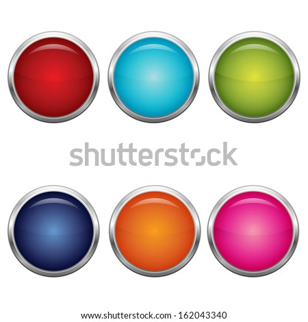 Collection of vector color round buttons with metallic elements. Ideal for web design  - stock vector