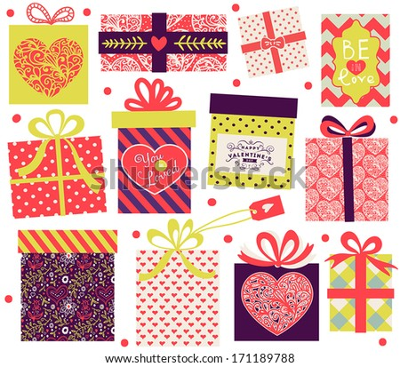 Collection of vector colorful Valentine's Day present boxes. Holiday seamless pattern. - stock vector